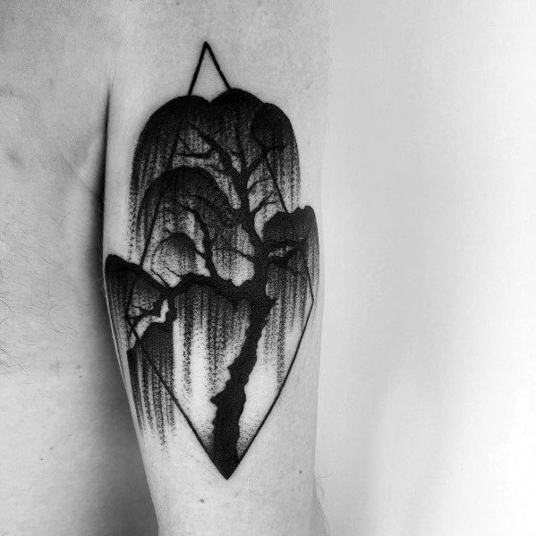Fantastic Cool Willow Tree Tattoo Designs For Men