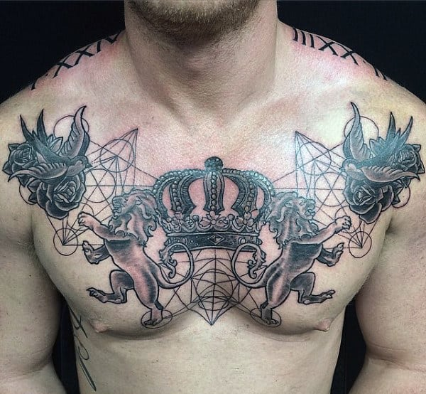 Fantastic Crown Sparrow And Lion Tattoo Mens Chest