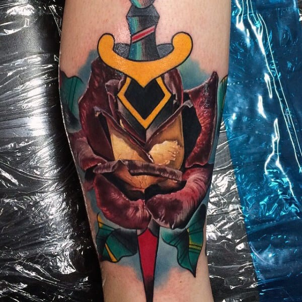 Fantastic Dagger Tattoo Male Forearms