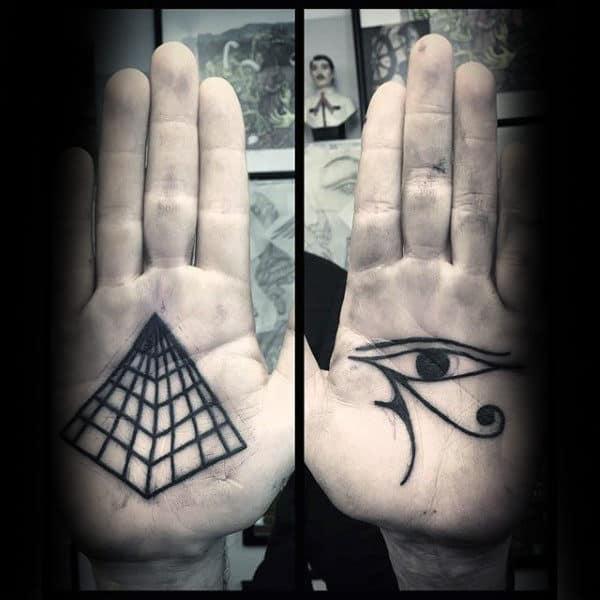 Fantastic Dark Black Tattoo Male Palms