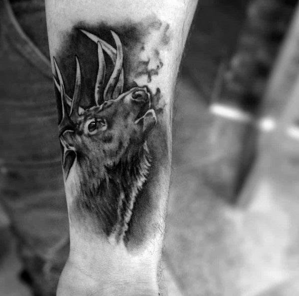 Fantastic Elk Tattoo Designs For Men