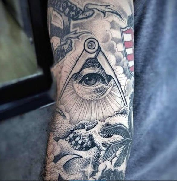 Fantastic Eye And Cloudy Skies Tattoo Male Forearms