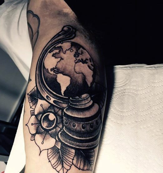 Fantastic Globe Tattoo Male Inner Biceps