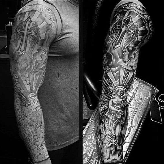 Fantastic Grey Religious Tattoo Male Sleeves