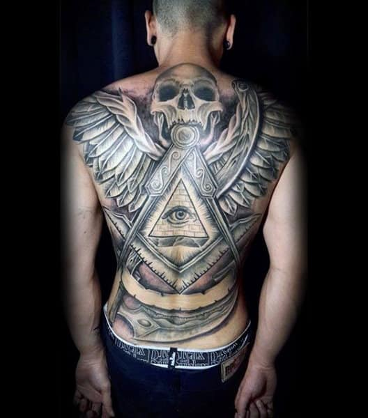 Fantastic Illuminati Tattoo Male Full Back
