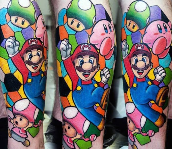 Fantastic Mario Gaming Tattoo Designs For Men