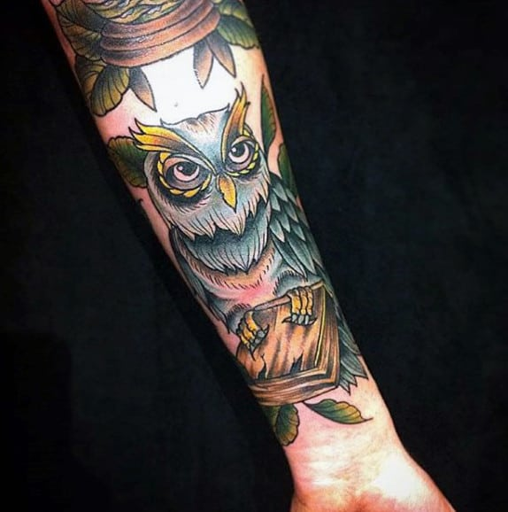 Fantastic Owl Holding Book Tattoo Male Forearms