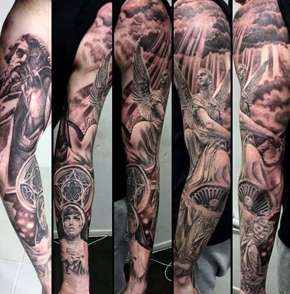 Fantastic Religious Blessing Tattoo Male Sleeves