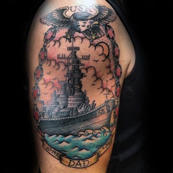 Fantastic Ship Tribute To Dad Tattoo Male Arms