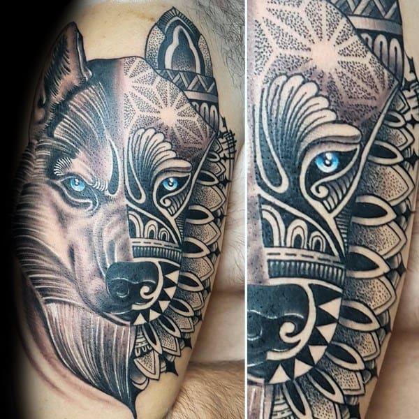 Fantastic Siberian Husky Tattoo Designs For Men