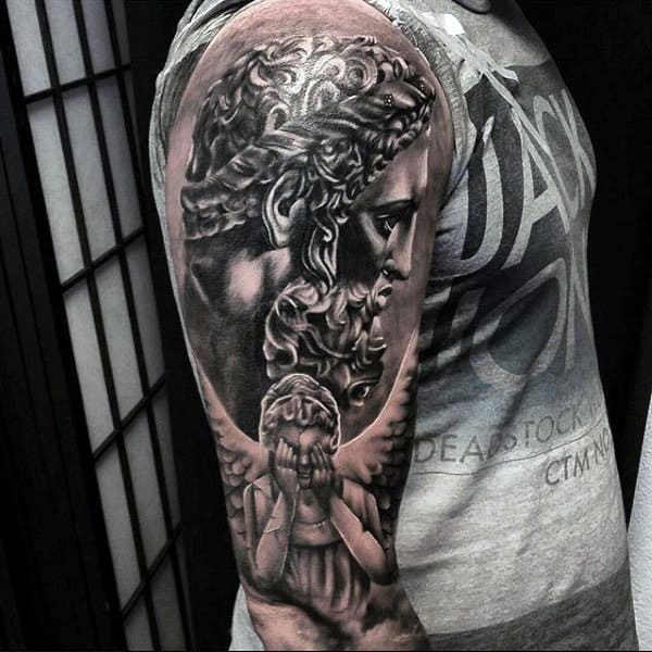 Fantastic Tattoo Of Guardian Angel Closing Eyes Guys Upper Arms