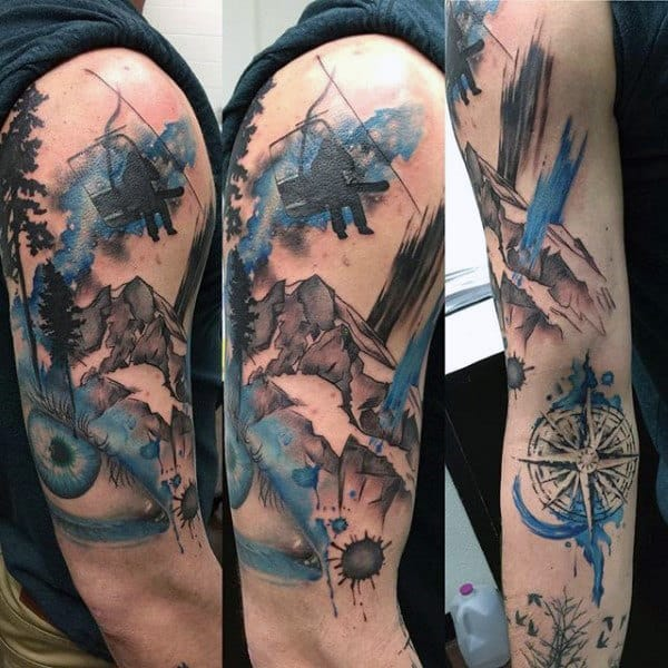 Fantastic Winch Compass Snowboard Tattoo Male Arms