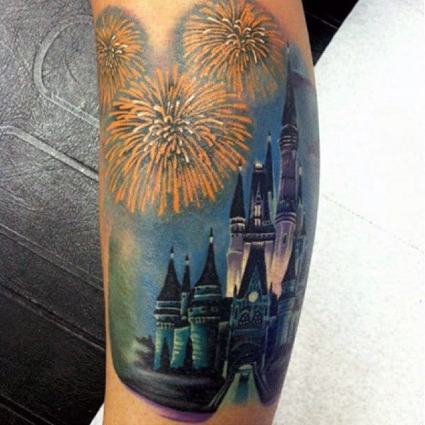 Fantasy Fireworks Blue Castle Bicep Tattoos For Men