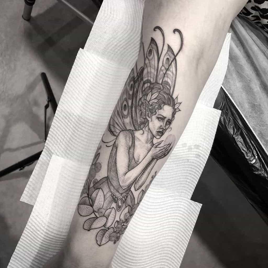 Fantasy Line Work Black Work Fairy Tattoo
