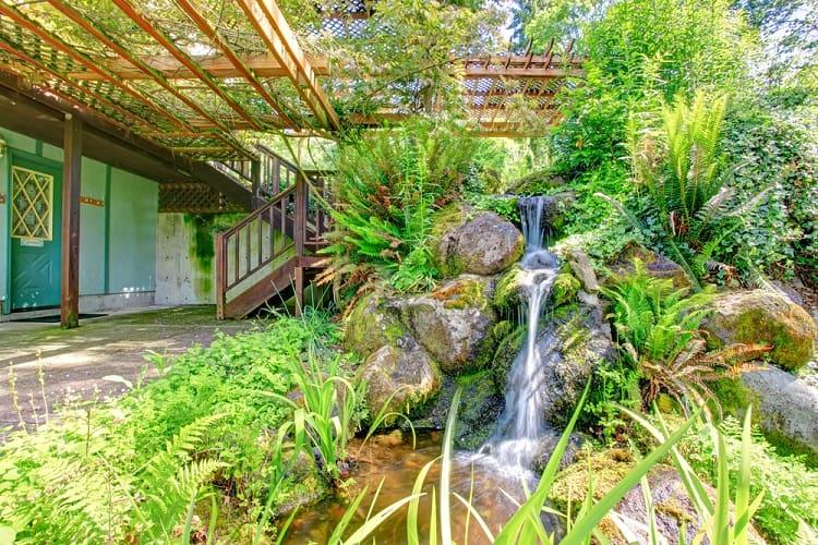 Farm House Deck Backyard Waterfall