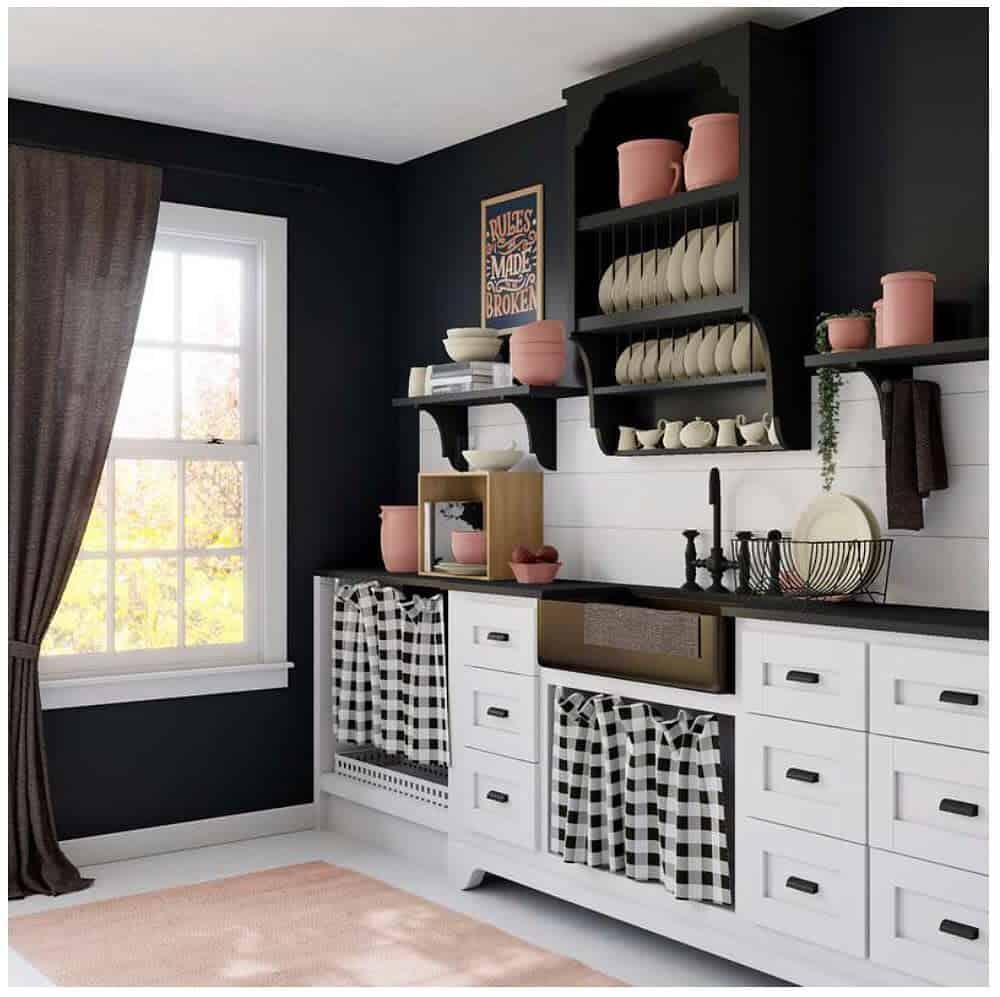 farmhouse checkered kitchen curtain ideas annemarie_decor