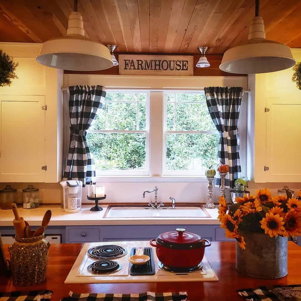 farmhouse checkered kitchen curtain ideas shabby.chic.farmhouse