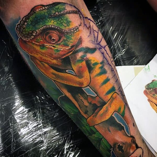Fascinating Double Toned Lizard Tattoo Lower Legs Male