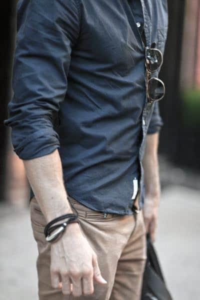 Fashioanble Guys Casual Wear Style Ideas Blue Dress Shirt With Tan Pants