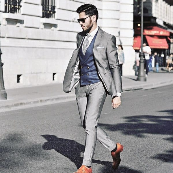 Fashioanble Guys Charcoal Grey Suit Brown Shoes Blue Vest Style Ideas