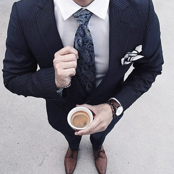 Fashioanble Guys Navy Blue Suit Brown Shoes Business Professional Style Ideas