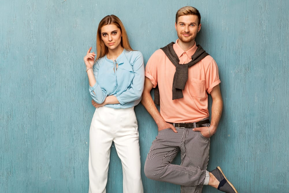 fashion girl and guy in outlet clothes