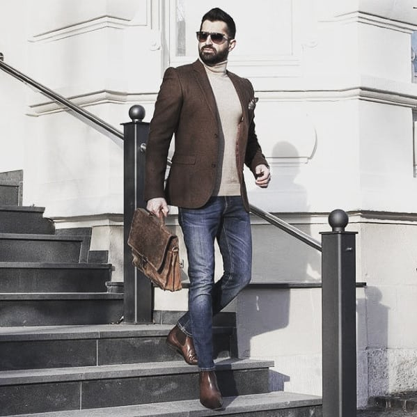 Fashion Mens Business Casual Outfits Brown Blazer With Cream Turtleneck Sweater And Jeans