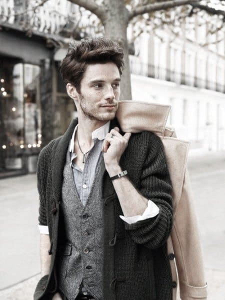 Fashion Mens Casual Wears Grey Vest With Charcoal Cardigan
