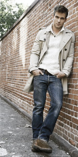 Fashion Mens Fall Outfits Cream Coat With Sweater And Jeans