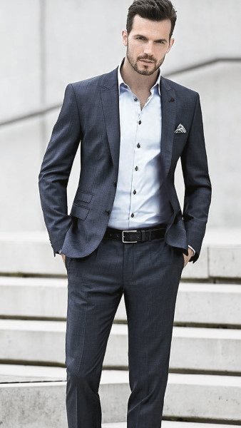 Fashion Mens Navy Blue Suits Without Tie