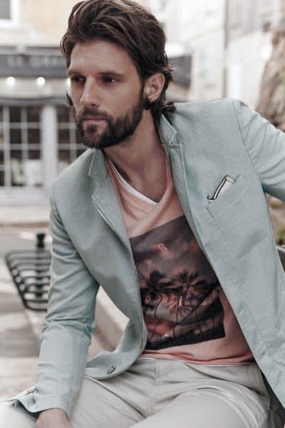 Fashion Mens Summer Outfits With Graphic T Shirt And Blazer