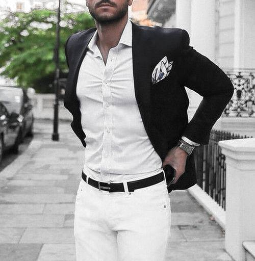 Fashion Mens What To Wear With White Jeans Navy Blazer Dress Shirt Outfits