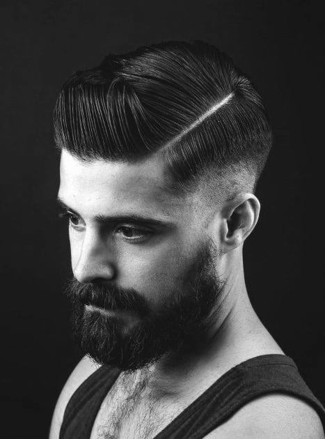 Fashionable Hard Part Hairstyle Men