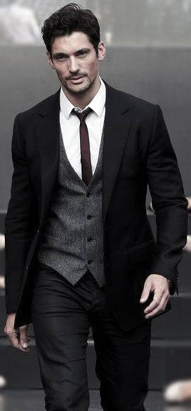 Fashionable Male Black Suit Styles With Grey Vest And Skinny Tie