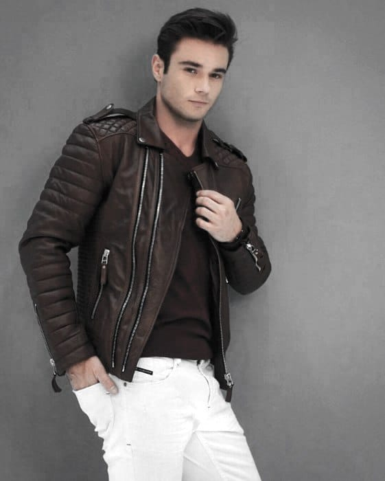 Fashionable Male Brown Leather Jackets How To Wear A Leather Jacket Outfit Grey T Shirt Black Pants