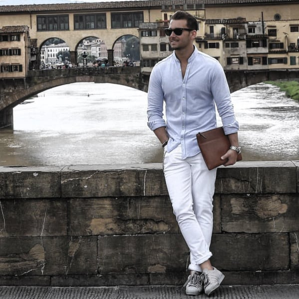 Fashionable Male Business Casual Outfits Styles Light Blue Dress Shit With White Pants