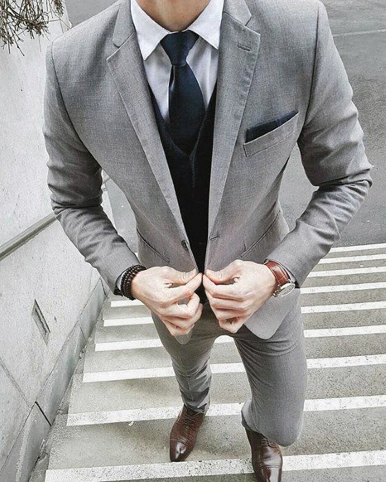 Fashionable Male Charcoal Grey Suit Brown Shoes Styles