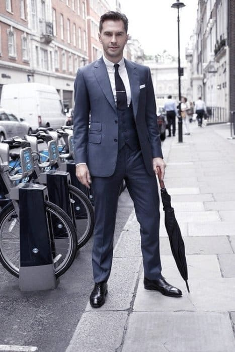 Fashionable Male Navy Blue Suit Black Shoes Styles