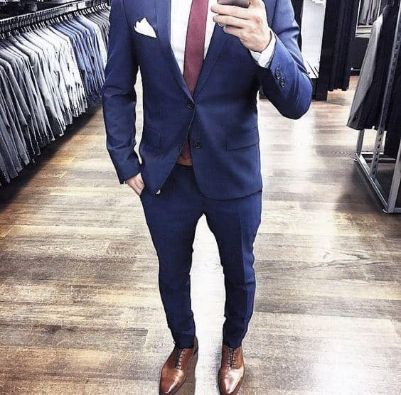 Fashionable Male Navy Blue Suit Brown Shoes Red Tie Styles