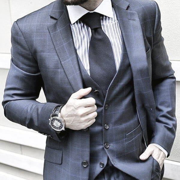 Fashionable Male Navy Blue Suit Styles Business Professional