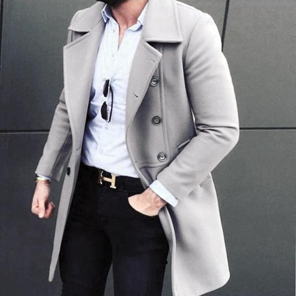 Fashionable Male Trendy Outfits Styles Light Grey Coat With White Dress Shirt