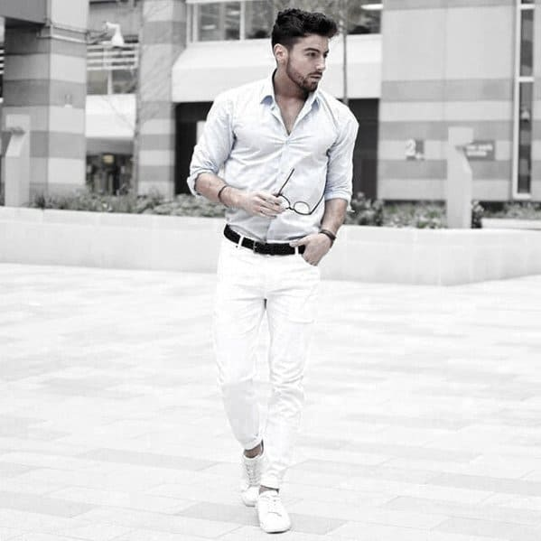 Fashionable Male White Jeans What To Wear With Dress Shirt Outfits Styles