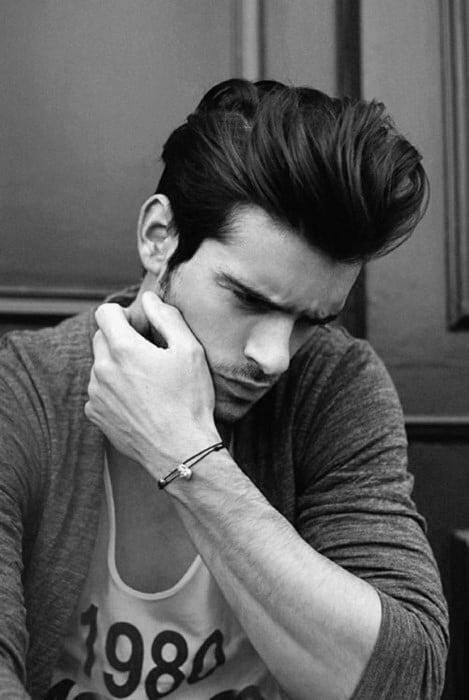 Fashionable Medium To Long Thick Mens Quiff Haircut