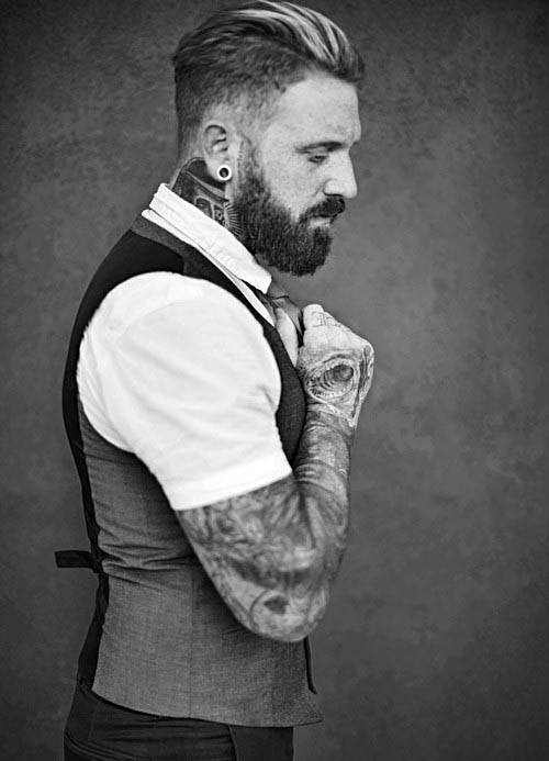 Fashionable Mens Low Fade Slicked Back Hairstyles