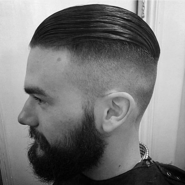 Fashionable Slicked Back Undercut Hair For Men With High Fade