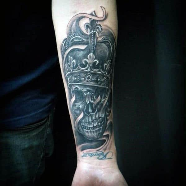 Fatal Skull With Crown Tattoo Forearms Male