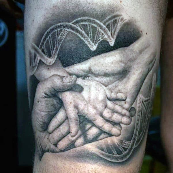 Father Holding Childs Hand With Dna In Background Mens Thigh Tattoo