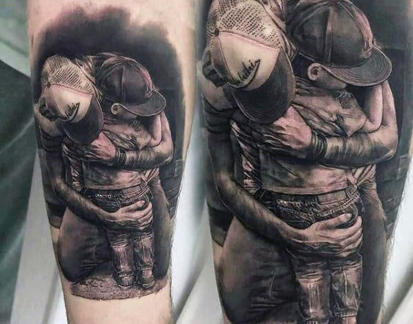 Father Hugging Son Mens Realistic 3d Forearm Tattoo