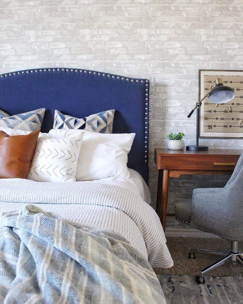 faux brick and panelling bedroom wallpaper ideas izzainteriors