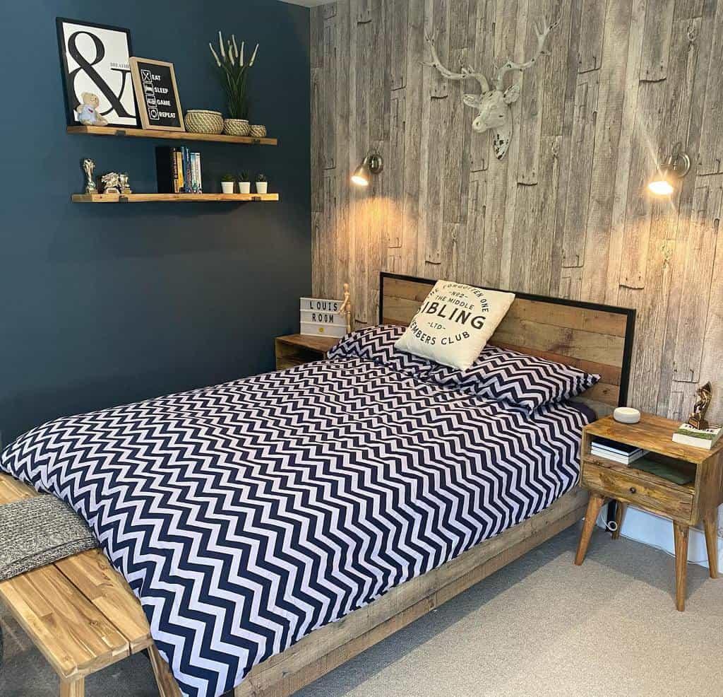 faux brick and panelling bedroom wallpaper ideas lottieshousebuild